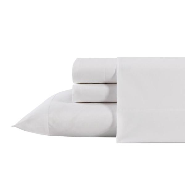 3-Piece White Antimicrobial Cotton Blend King Bedding Sheet Set Solid