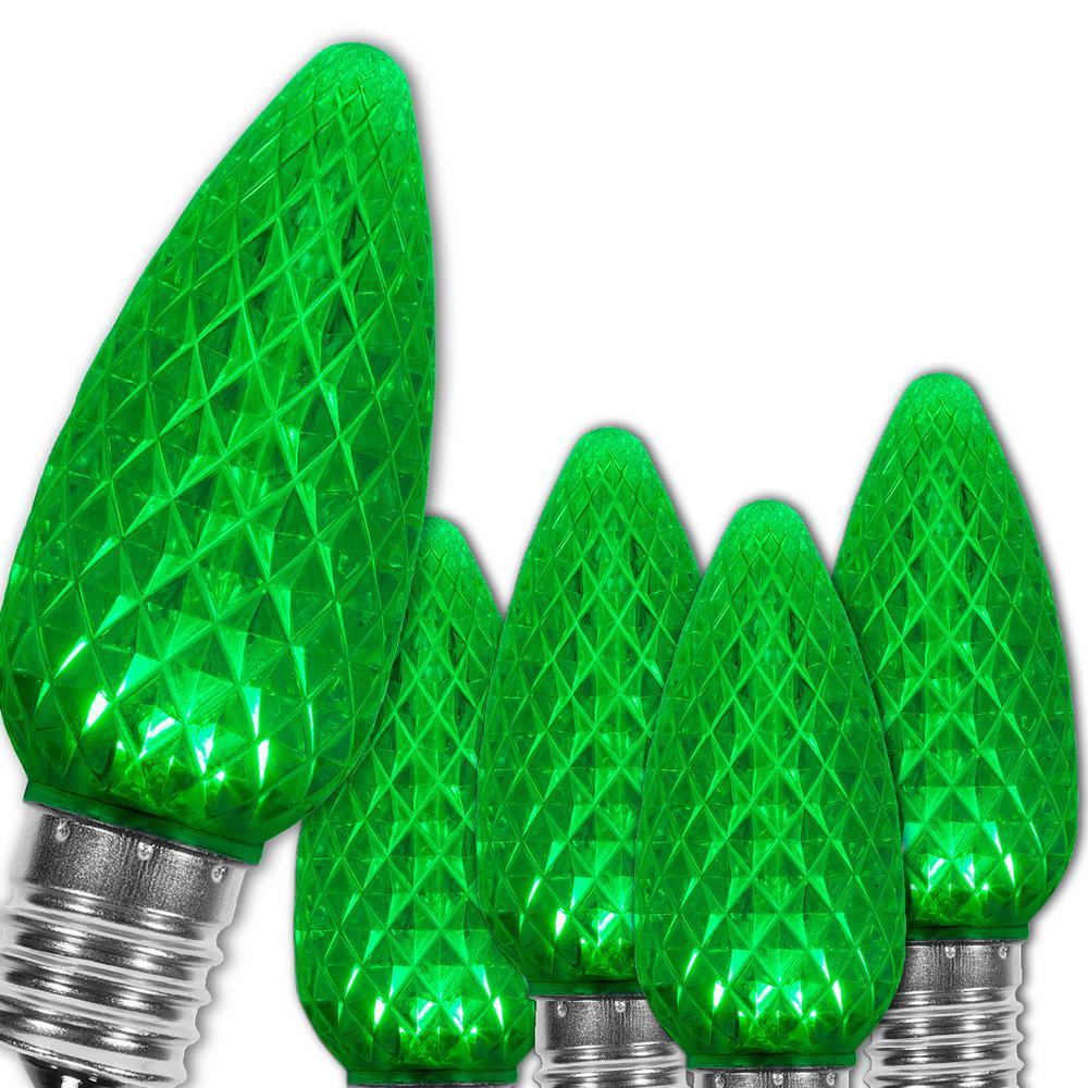 C9 LED Green Faceted Christmas Light Bulbs (25-Pack)