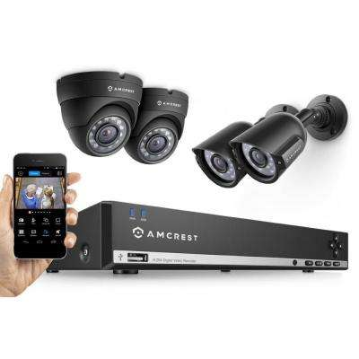 4-Channel 960H 500GB Surveillance DVR with Camera System, 2 x 800+ TVL Bullet Cameras, 2 x 800+ TVL Dome Cameras