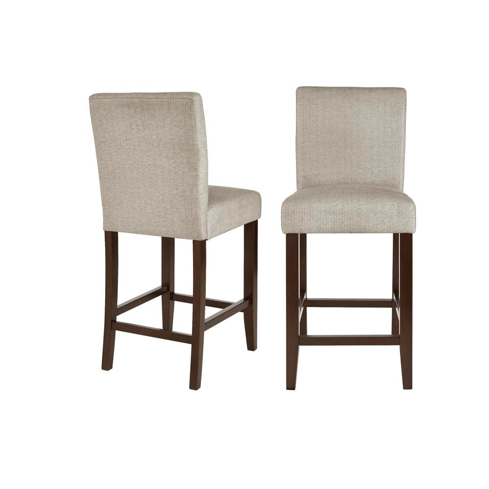 StyleWell Banford Sable Brown Wood Upholstered Counter Stool with Back and Riverbed Brown Seat (Set of 2) (17.51in. W x 40.35in.H), Riverbed/Sable was $259.0 now $155.4 (40.0% off)