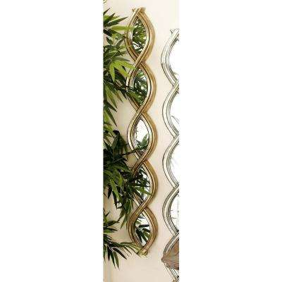 49 in. x 7 in. Modern Helix-Shaped Gold Framed Wall Mirror