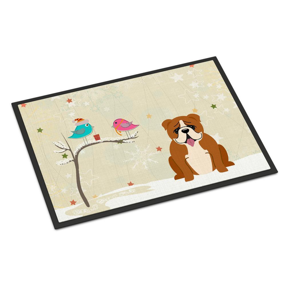 18 in. x 27 in. Indoor/Outdoor Christmas Presents between Friends English Bulldog Red White Door Mat