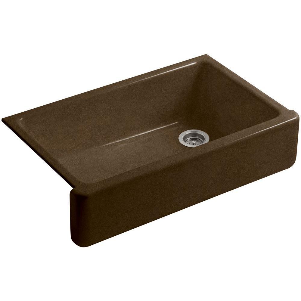 Whitehaven Farmhouse Apron-Front Cast Iron 36 in. Single Basin Kitchen Sink in Black 'n Tan