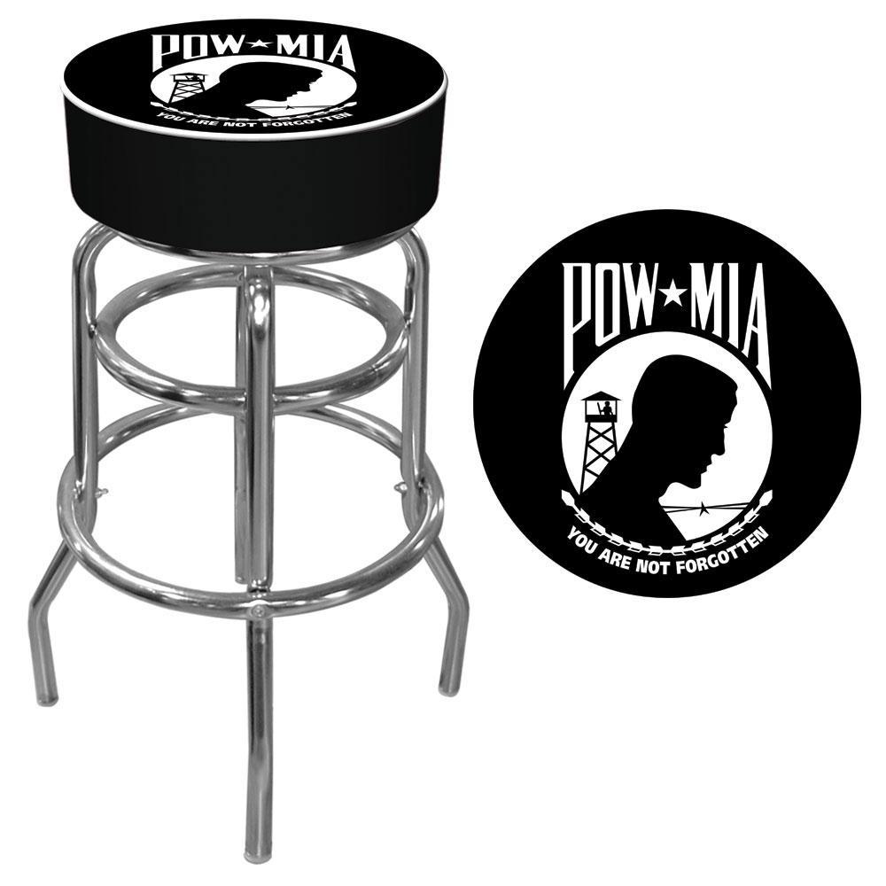 POW Logo 31 in. Chrome Padded Swivel Bar Stool