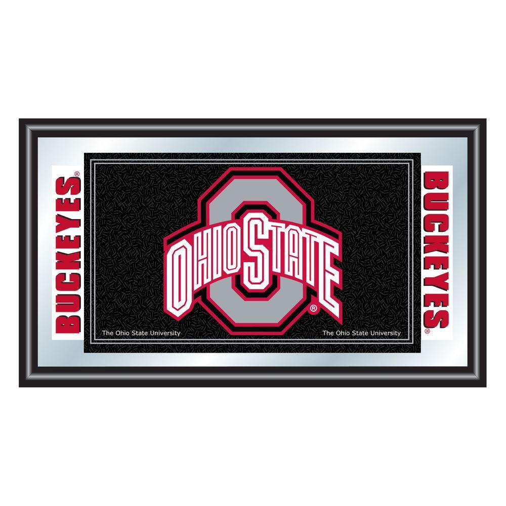 Trademark Ohio State University Black 15 in. x 26 in. Black Wood Framed Mirror