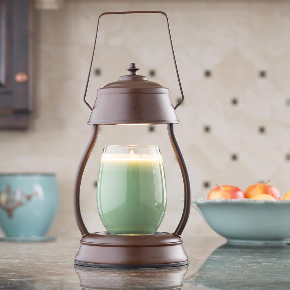 11.5 in. Rustic Brown Hurricane Candle Warmer Lantern