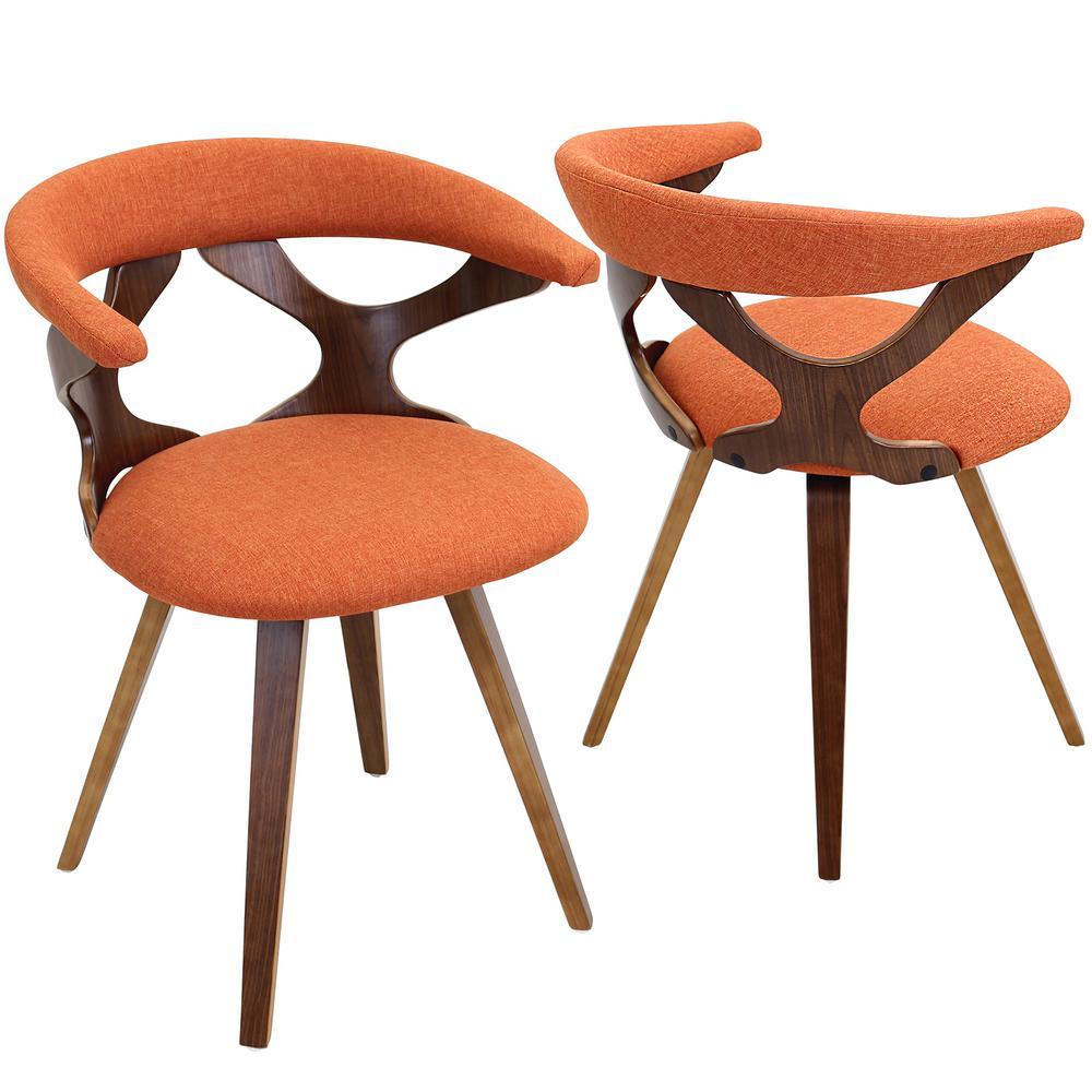 Gardenia Walnut and Orange Counter Chair