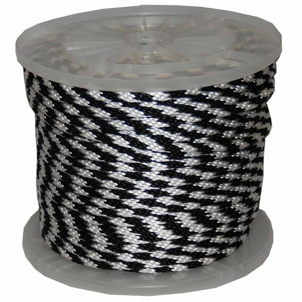 T.W. Evans Cordage 3/8 in. x 300 ft. Solid Braid Multi-Filament Polypropylene Derby Rope in Black and White