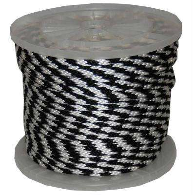 3/8 in. x 300 ft. Solid Braid Multi-Filament Polypropylene Derby Rope in Black and White