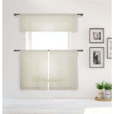 Jani Kitchen Valance in Tiers/Natural - 15 in. W x 58 in. L (3-Piece)
