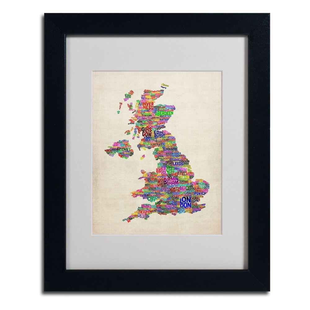 null 11 in. x 14 in. UK Cities Text Map Matted Framed Art