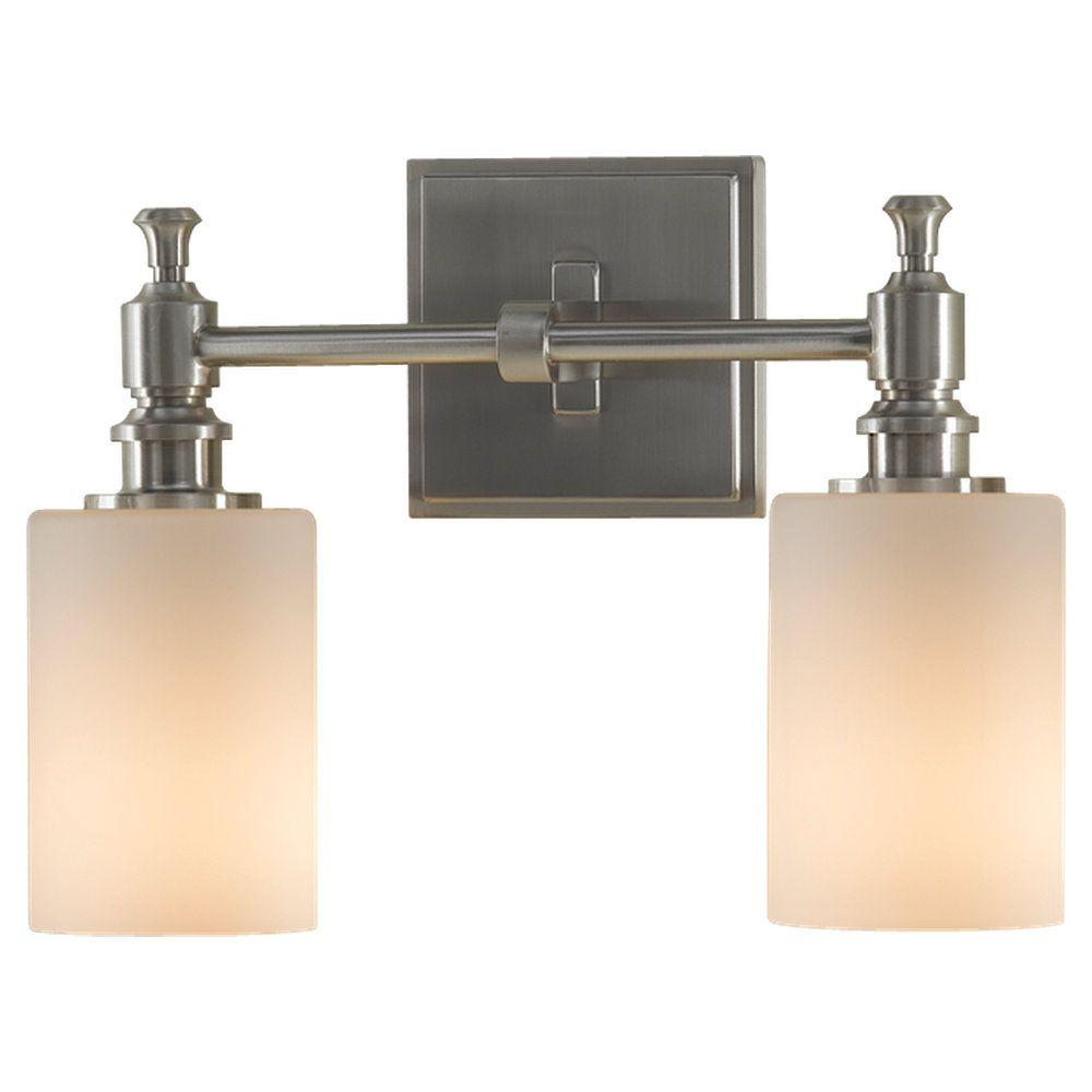 Feiss Sullivan 2 Light Brushed Steel Vanity Light Vs16102 Bs The Home Depot