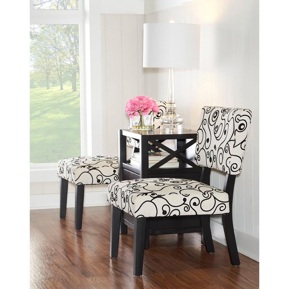 Beautiful Taylor Black And White Accent Chair
