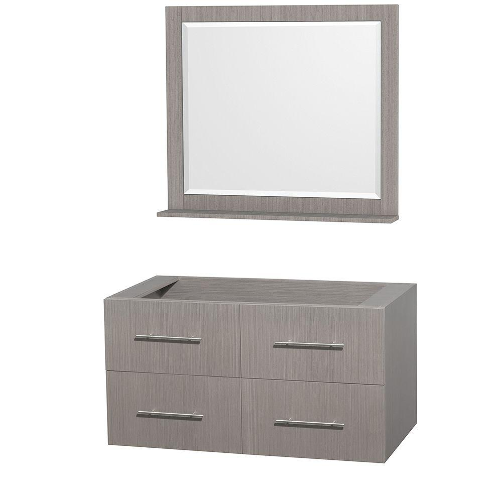 Centra 42 in. Vanity Cabinet with Mirror in Gray Oak