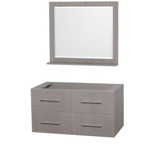 Wyndham Collection Centra 42 inch Vanity Cabinet with Mirror in Gray Oak by Wyndham Collection