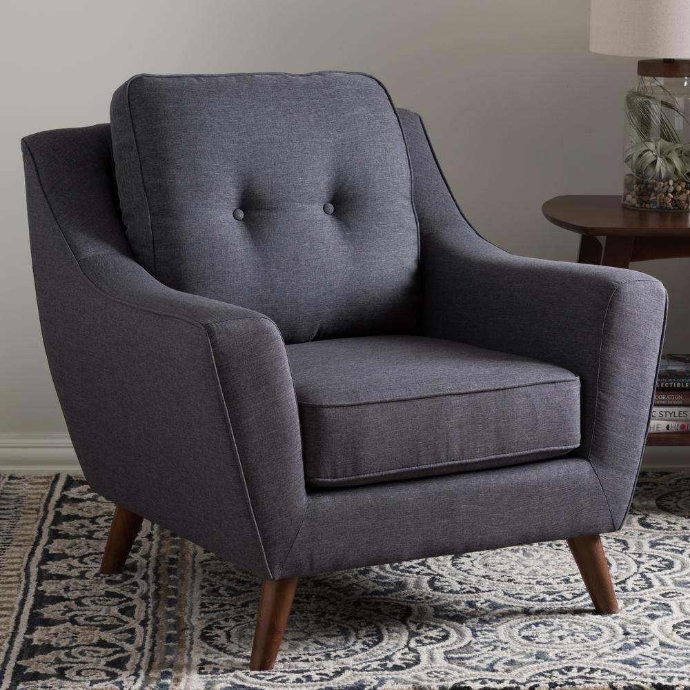 Baxton Studio Deena Dark Gray Fabric Upholstered Accent