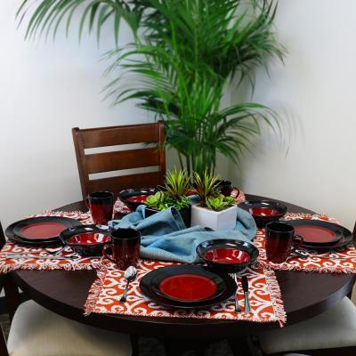 Tanizia 16-Piece Red and Black Dinnerware Set