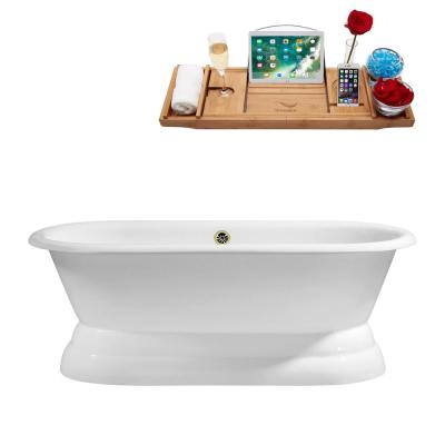60 in. Cast Iron Soaking Free Standing Tub in Glossy White With Tray and External Drain