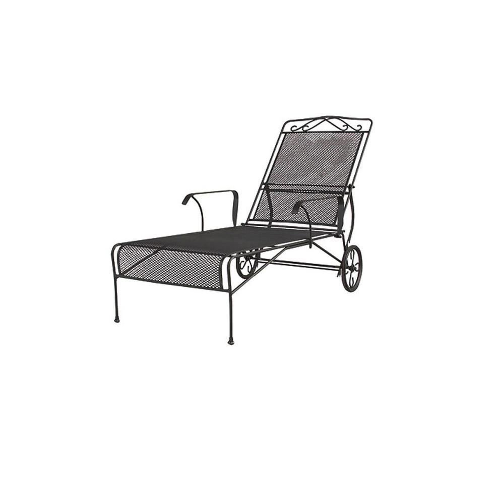 null Wrought Iron Black Patio Chaise Lounge-DISCONTINUED