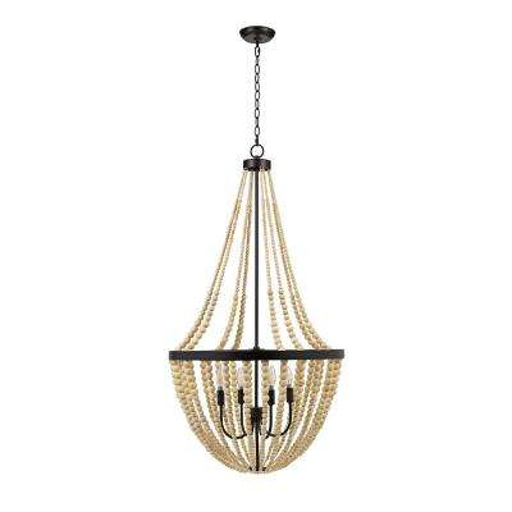 4-Light Natural Modern Farmhouse Chandelier and LED Bulb