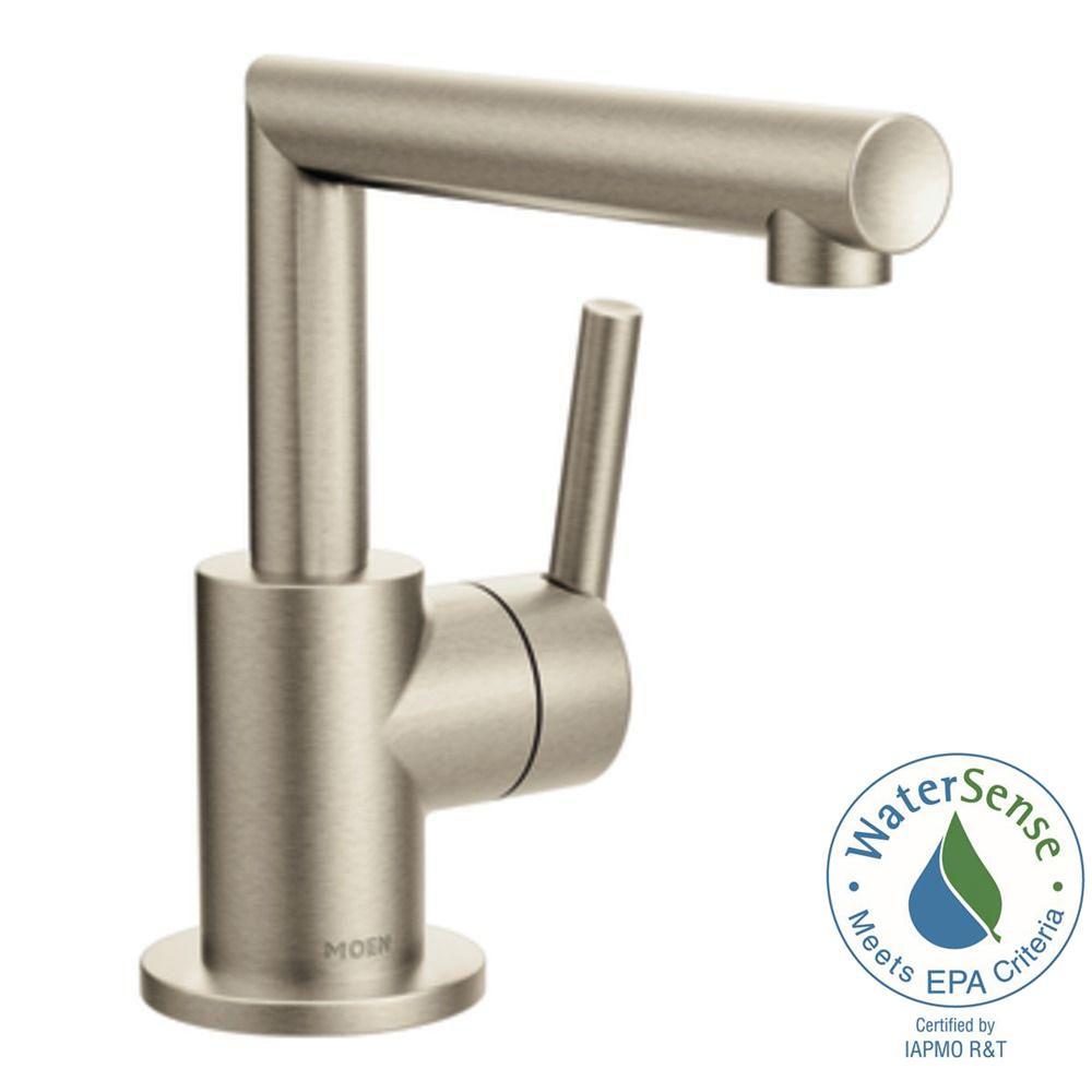 MOEN Arris Single Hole 1-Handle Bathroom Faucet in Brushed Nickel ...