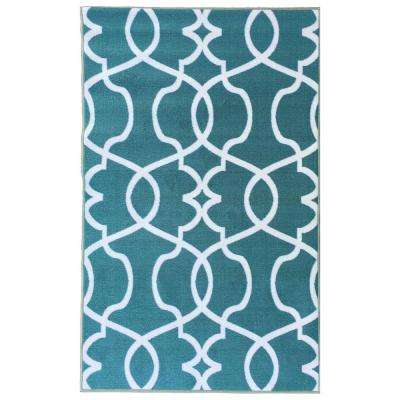 Rose Collection Contemporary Geometric Trellis Design Ocean Green 5 ft. x 7 ft. Non-Skid Area Rug