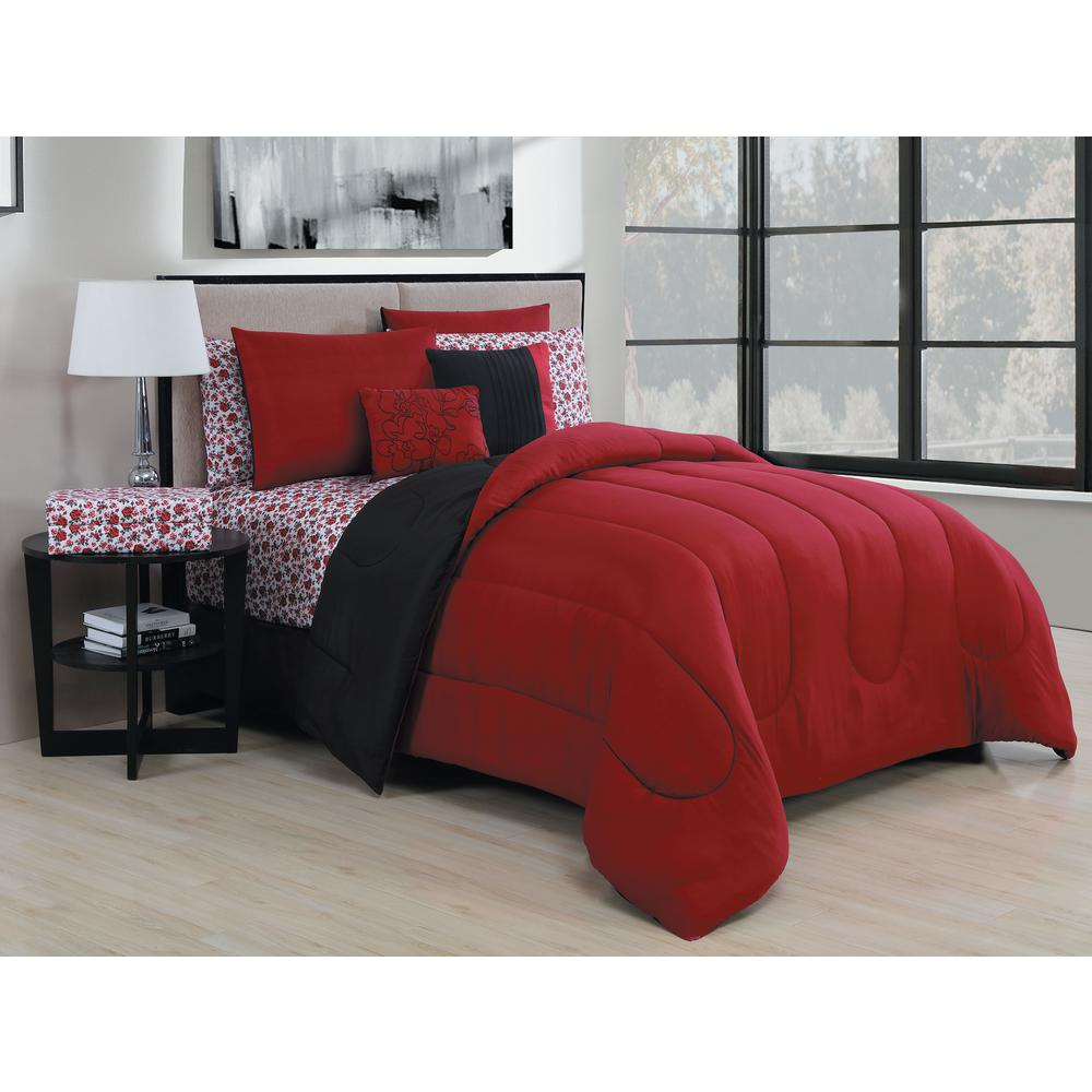 Geneva Home Fashion Roses 9 Piece Black Red King Bed In A Bag Ros9pckingghbr The Depot