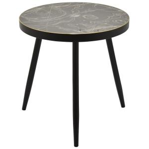 24 In Black Wood Decorative Table Multicolor Top With Black Legs