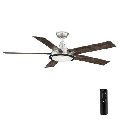 Merienda 56 in. LED Brushed Nickel Ceiling Fan with Light
