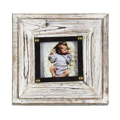Henrick Rustic White 4 in. x 4 in. Picture Frame (Set of 2)
