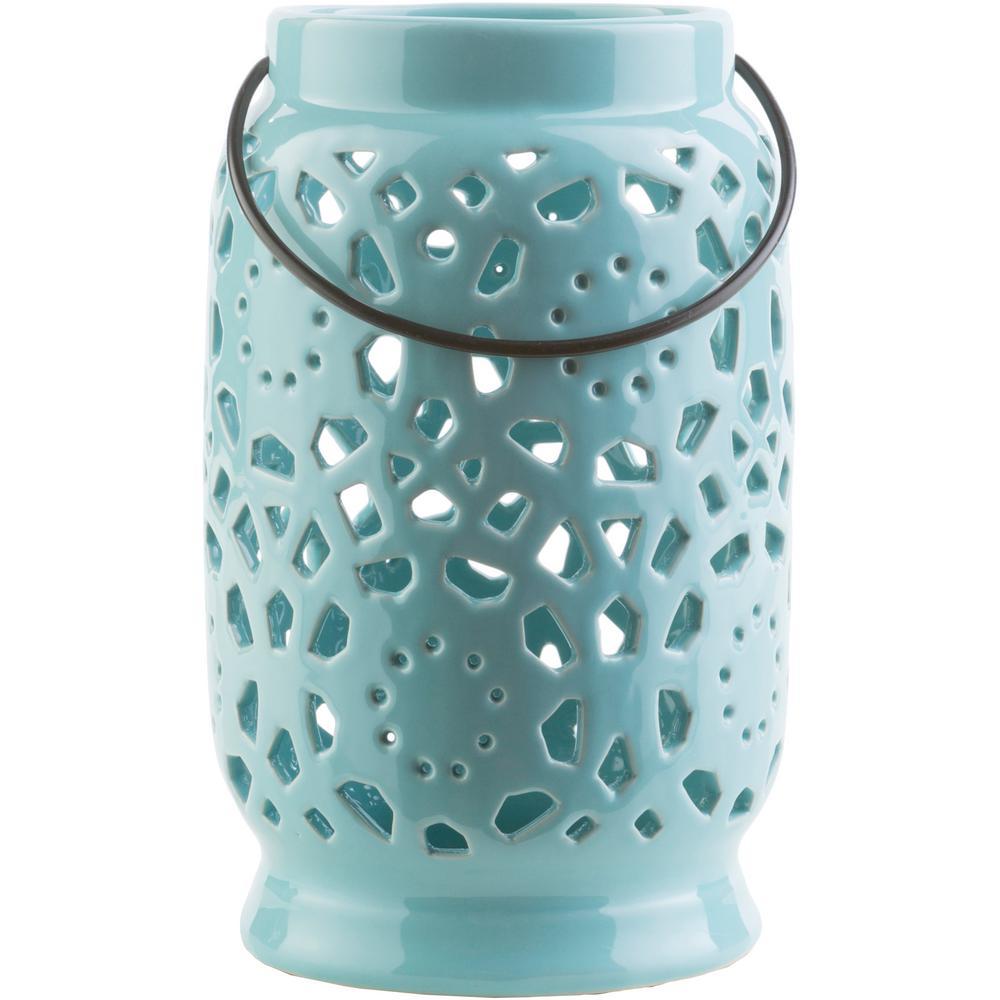 Kimba 9.4 in. Aqua Ceramic Lantern