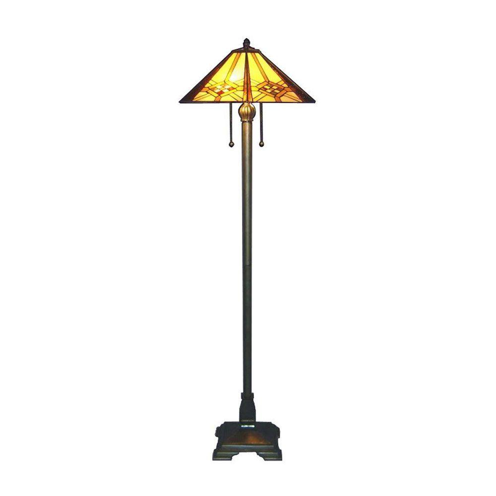 Serena Du0027italia Tiffany Hex Mission 61 In. Bronze Floor Lamp