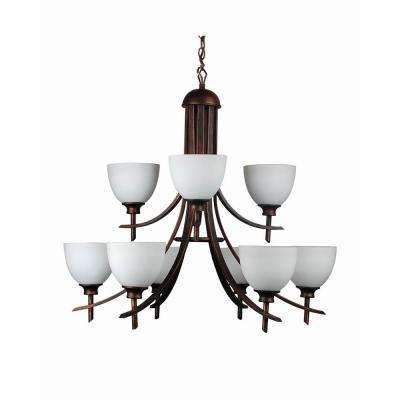 9-Light Oil-Rubbed Bronze Chandelier with Etched Dove White Glass Shade
