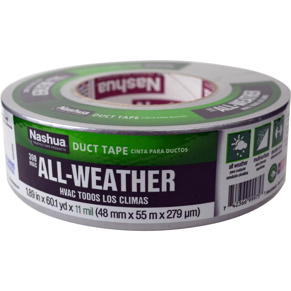 Nashua tape in x 60 yd 398 all weather hvac duct tape in silver 1207795 the home depot for Exterior masking tape