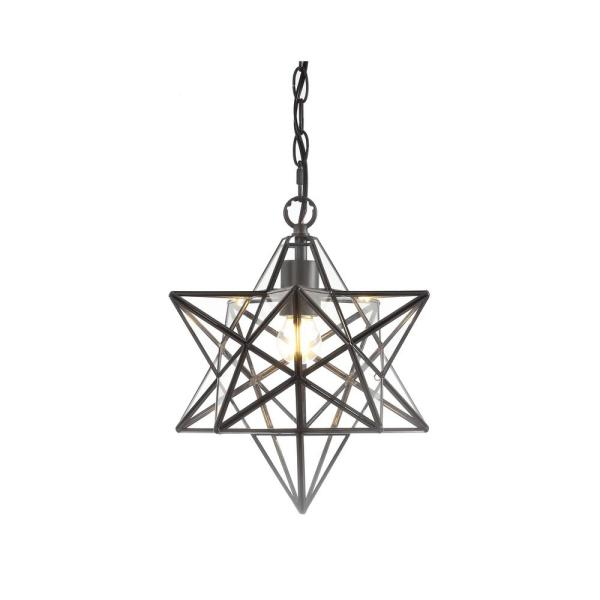 Stella 1-Ligth Oil Rubbed Bronze Moravian Star Metal/Glass LED Pendant