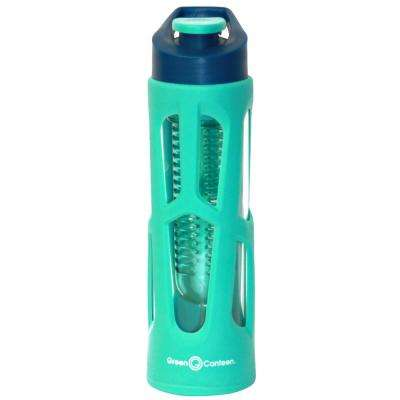 18 oz. Teal Borosilicate Glass Hydration Bottle with Infuser and Plastic Cover (6-Pack)
