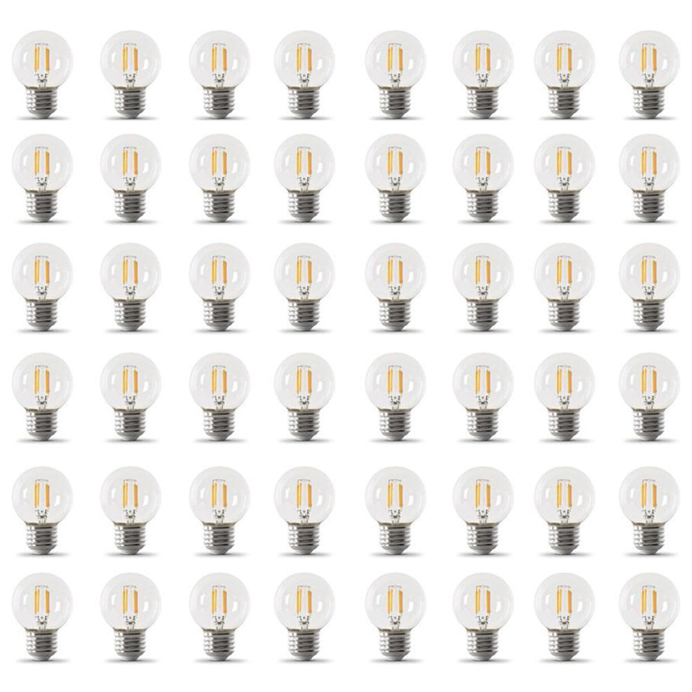 Feit Electric 60-Watt Equivalent G16.5 Medium Dimmable Filament ENERGY STAR White Glass LED Light Bulb, Daylight (48-Pack)