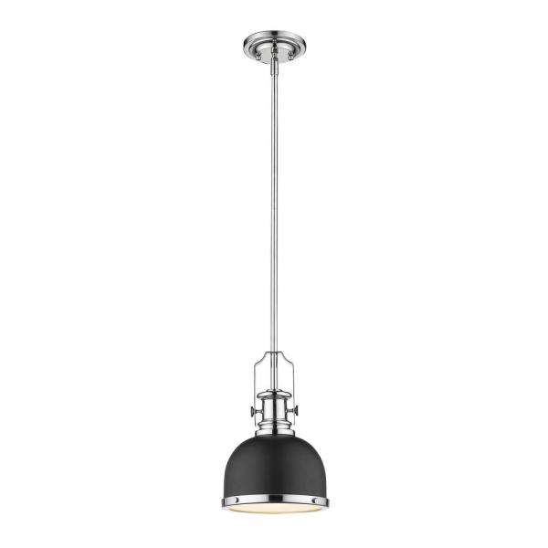 1-Light Matte Black and Chrome Mini-Pendant with Matte Black Metal and Glass Shade