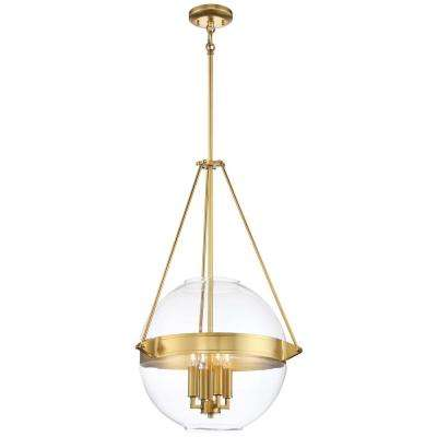 Atrio Collection 4-Light Liberty Gold Finish Pendant 19 in. with Clear Glass