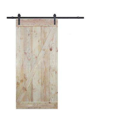 36 in. x 84 in. 2-Side Z-Bar Wood Color Pine Slab Interior Barn Door with 6 ft. Sliding Door Hardware Kit