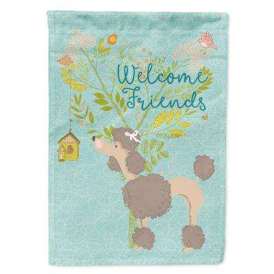 Caroline S Treasures 28 In X 40 In Polyester Welcome Friends Chocolate Poodle Flag Canvas House Size 2 Sided Heavyweight Bb7612chf The Home Depot