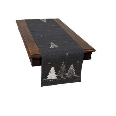 0.1 in. H x 15 in. W x 70 in. D Lovely Christmas Tree Embroidered Double Layer Table Runner in Dark Gray