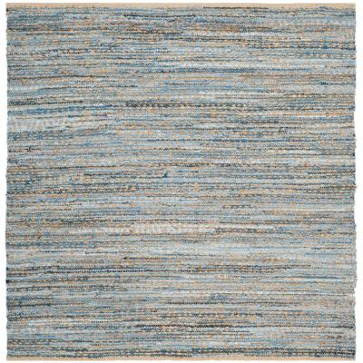 Cape Cod Natural/Blue 8 ft. x 8 ft. Square Area Rug
