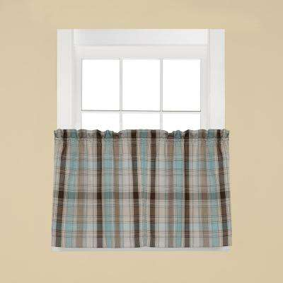 Cooper Blue Polyester Rod Pocket Tier Curtain - 58 in. W x 24 in. L