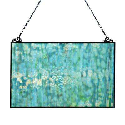 Mottled Blue Stained Glass Single Pane Window Panel