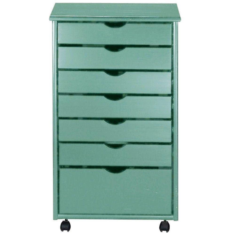 20 in. W Stanton Blue 6 + 1 Drawer Wide Storage Cart