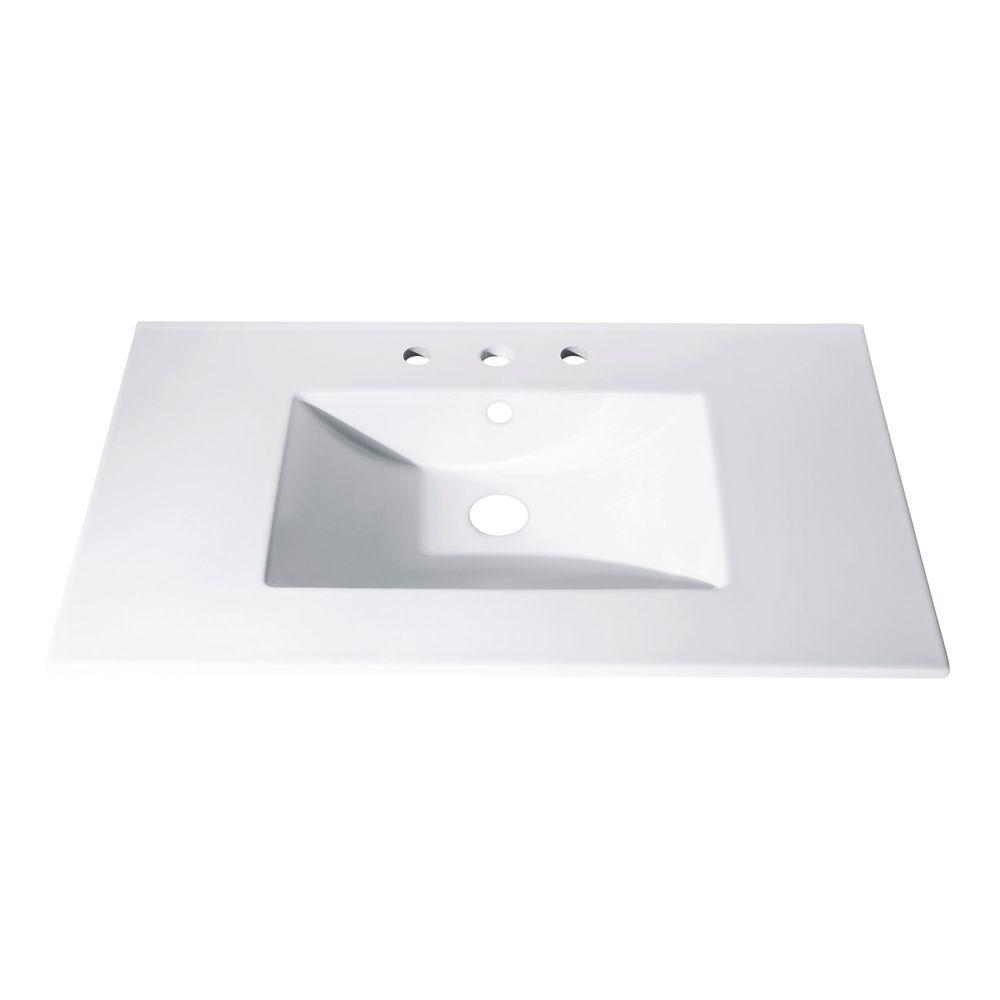 Avanity 31 In X 22 Vitreous China Vanity Top With Rectangular Bowl