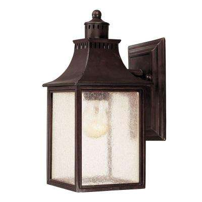 Wall Mount 1-Light Outdoor English Bronze Lantern with Pale Cream Seeded Glass