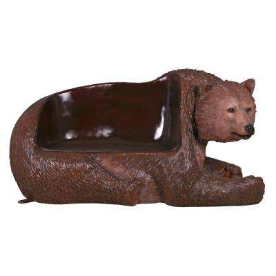 Brown Grizzly Bear 2-Person 79 in. W Full Color Fiberglass Outdoor Bench