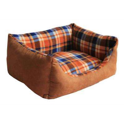 Rectangular X-Small Light Brown Plaid Bed